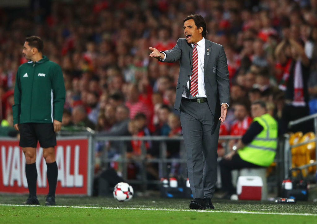 CARDIFF, WALES - SEPTEMBER 02:  Chris Coleman manager of Wales reacts on the touchline during the FIFA 2018 World Cup Qualifier between Wales and Austria at Cardiff City Stadium on September 2, 2017 in Cardiff, Wales.  (Photo by Michael Steele/Getty Images)