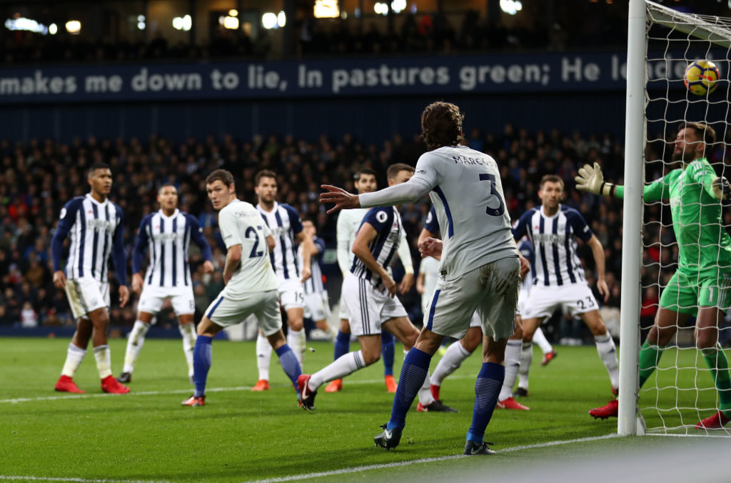 WEST BROMWICH, ENGLAND - NOVEMBER 18: Marcos Alonso of Chelsea scores his side's third goal during the Premier League match between West Bromwich Albion and Chelsea at The Hawthorns on November 18, 2017 in West Bromwich, England. (Photo by Catherine Ivill/Getty Images)