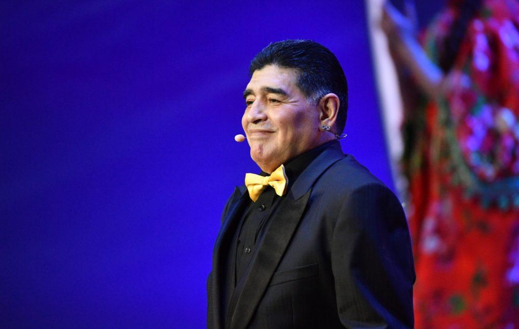 3247482 12/01/2017 Assistant of the final draw, Argentinian football player Diego Maradona at the 2018 FIFA World Cup Final Draw. Vladimir Pesnya/Sputnik