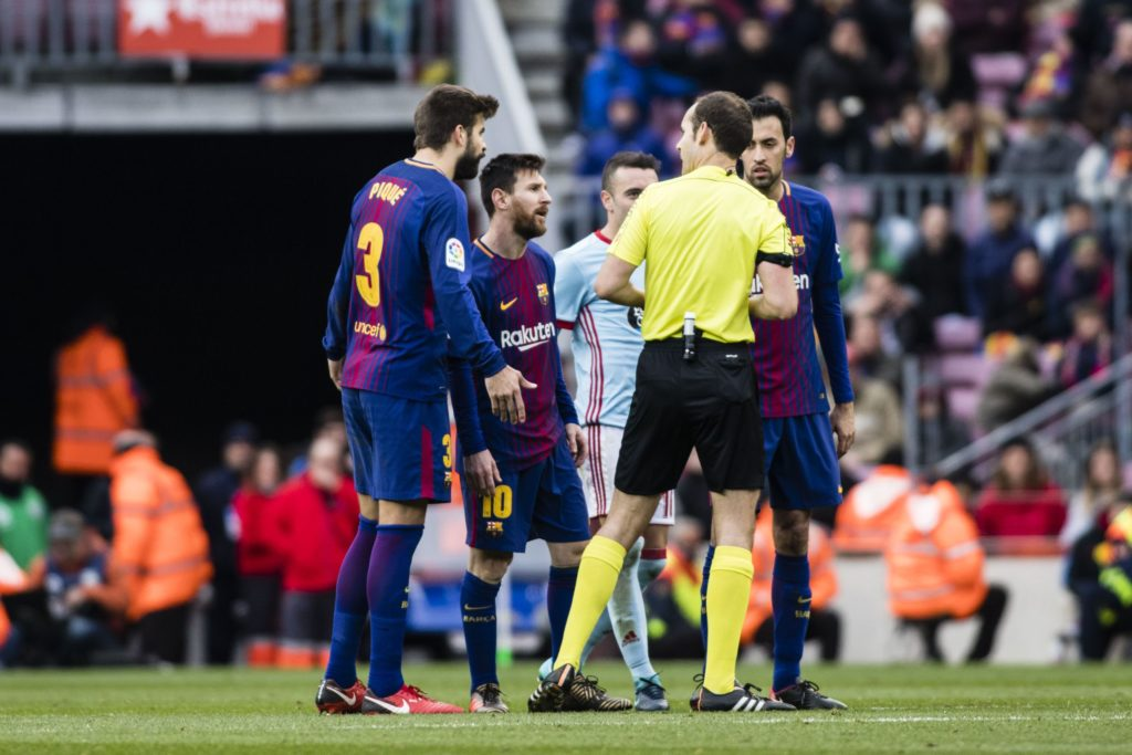 FC Barcelona players arguing with the referee during the La Liga match between FC Barcelona v Celta de Vigo at Camp Nou Stadium on December 2, 2017 in Barcelona, Spain.  (Photo by Xavier Bonilla/NurPhoto)