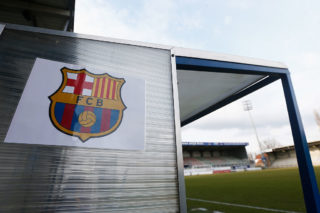 DENDERLEEUW, BELGIUM - MARCH 08:  A general of the FCB logo on the bench prior to the UEFA Youth League Quarter-final match between Anderlecht and Barcelona held at Van Roy Stadium on March 8, 2016 in Denderleeuw, Belgium.  (Photo by Dean Mouhtaropoulos/Getty Images)