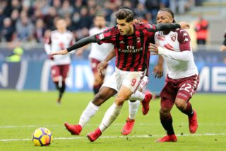 Andre Silva of Milan and Joel Obi of Torino during the Italian championship Serie A football match between AC Milan and Torino FC on November 26, 2017 at Giuseppe Meazza in Milan, Italy - Photo Morgese - Rossini / DPPI