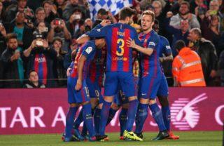 Leo Messi goal celebration during La Liga match between F.C. Barcelona v Valencia CF, in Barcelona, on march 19, 2017.   (Photo by Urbanandsport/NurPhoto)