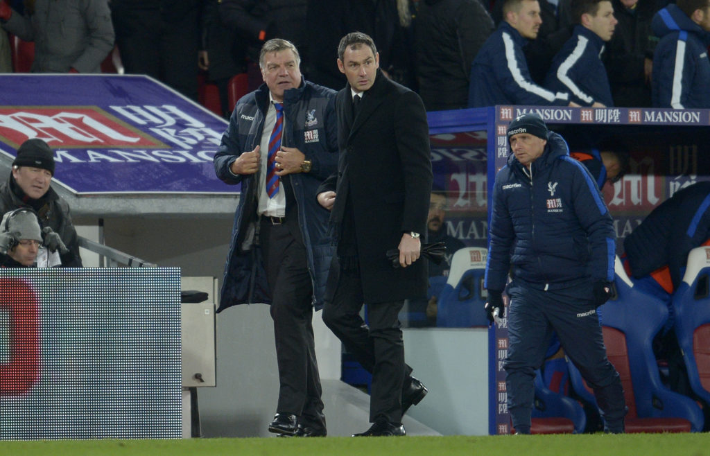 Paul Clement head coach of Swansea City same down from the stand and walks towards the tunnel at half time beside Sam Allardyce manager of Crystal Palace during the Premier League match between Crystal Palace and Swansea City played at Selhurst Park, London, England, on January 3, 2017 - Photo Ian Tuttle / Backpage Images / DPPI