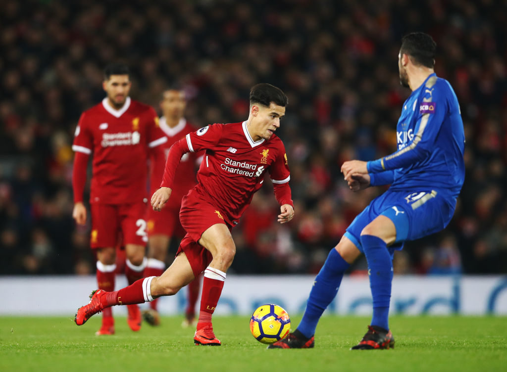 LIVERPOOL, ENGLAND - DECEMBER 30: Philippe Coutinho of Liverpool in action during the Premier League match between Liverpool and Leicester City at Anfield on December 30, 2017 in Liverpool, England.  (Photo by Clive Brunskill/Getty Images)