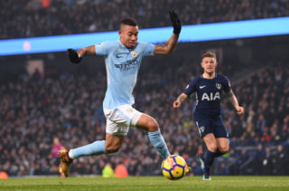 MANCHESTER, ENGLAND - DECEMBER 16: Gabriel Jesus of Manchester City runs with the ball during the Premier League match between Manchester City and Tottenham Hotspur at Etihad Stadium on December 16, 2017 in Manchester, England. (Photo by Laurence Griffiths/Getty Images)