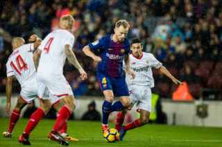 BARCELONA, SPAIN - NOVEMBER 04: Ivan Rakitic of FC Barcelona (R2) in action during the La Liga 2017-18 match between FC Barcelona and Sevilla FC at Camp Nou on November 04 2017 in Barcelona, Spain. (Photo by Power Sport Images/Getty Images)