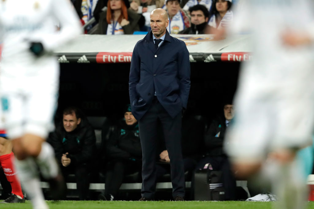 , SPAIN - JANUARY 10: coach Zinedine Zidane of Real Madrid  during the Spanish Copa del Rey  match between Real Madrid v Numancia on January 10, 2018 (Photo by Laurens Lindhout/Soccrates/Getty Images)