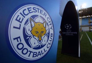 BRUGGE, BELGIUM - SEPTEMBER 14: The Leicester City badge next to a UEFA Champions League logo during the UEFA Champions League match between Club Brugge and Leicester City at Jan Breydel Stadium on September 14, 2016 in Brugge, West-Vlaanderen. (Photo by Catherine Ivill - AMA/Getty Images)