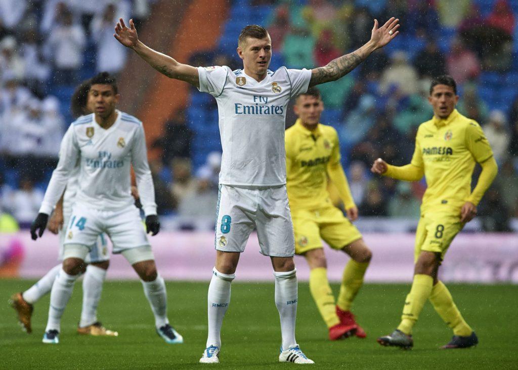 MADRID, SPAIN - JANUARY 13:  Toni Kroos of Real Madrid reacts during the La Liga match between Real Madrid and Villarreal at Estadio Santiago Bernabeu on January 13, 2018 in Madrid, Spain.  (Photo by fotopress/Getty Images)