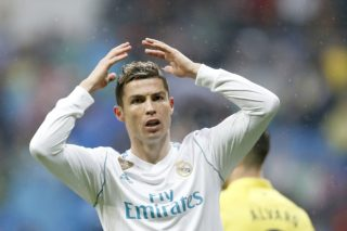 Real Madrid's Portuguese forward Cristiano Ronaldo reacts during the Spanish championship Liga football match between Real Madrid and Villarreal on January 13, 2018 at Santiago Bernabeu stadium in Madrid, Spain - Photo Benjamin Cremel / DPPI