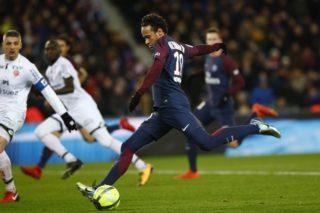 Neymar da Silva during the French Ligue 1 match between Paris Saint Germain (PSG) and Dijon FCO at Parc des Princes stadium on January 17, 2018 in Paris, France. (Photo by Mehdi Taamallah/NurPhoto)