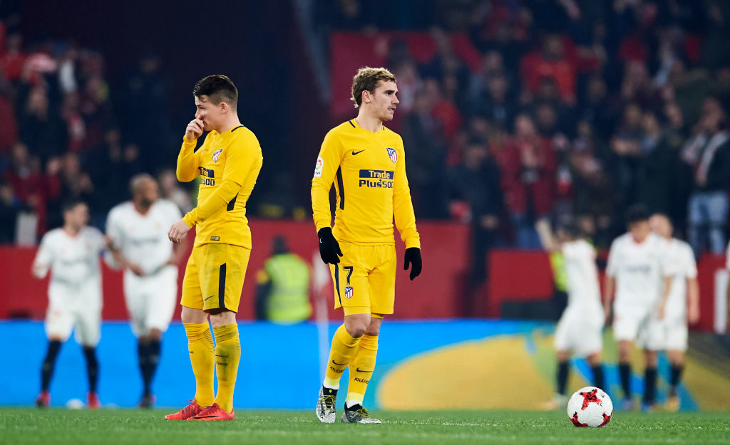 SEVILLE, SPAIN - JANUARY 23:  Kevin Gameiro and Antoine Griezmann of Atletico Madrid reacts during the Copa del Rey, Quarter Final, second Leg match between Sevilla FC and Atletico de Madrid at Estadio Ramon Sanchez Pizjuan on January 23, 2018 in Seville, Spain.  (Photo by Aitor Alcalde/Getty Images)
