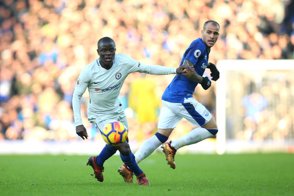 during the Premier League match between Everton and Chelsea at Goodison Park on December 23, 2017 in Liverpool, England.