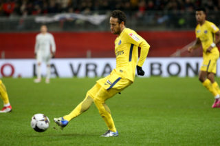 RENNES, FRANCE - JANUARY 30: Neymar Jr of PSG during the French League Cup (Coupe de la Ligue) match between Stade Rennais and Paris Saint Germain (PSG) at Roazhon Park on January 30, 2018 in Rennes, France. (Photo by Jean Catuffe/Getty Images)