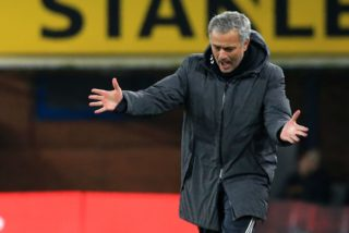 Manchester United's Portuguese manager Jose Mourinho gestures on the touchline during the English Premier League football match between Burnley and Manchester United at Turf Moor in Burnley, north west England on January 20, 2018. Manchester United won the game 1-0. / AFP PHOTO / Lindsey PARNABY / RESTRICTED TO EDITORIAL USE. No use with unauthorized audio, video, data, fixture lists, club/league logos or 'live' services. Online in-match use limited to 75 images, no video emulation. No use in betting, games or single club/league/player publications.  /