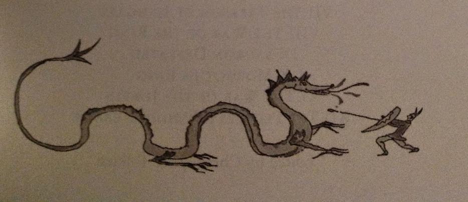 Sárkányra támadó harcos (J. R. R. Tolkien rajza)
