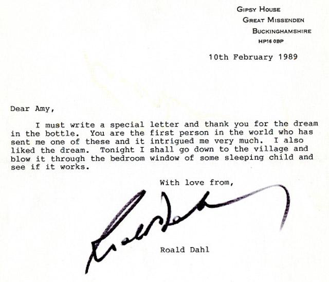 Roald Dahl levele, 1989