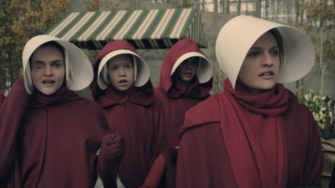 """The Handmaid's Tale  -- """"Faithful"""" -- Episode 105 --  Serena Joy makes Offred a surprising proposition. Offred remembers the unconventional beginnings of her relationship with her husband. Janine (Madeline Brewer), left and Offred (Elisabeth Moss), right, shown. (Photo by: George Kraychyk/Hulu)"""