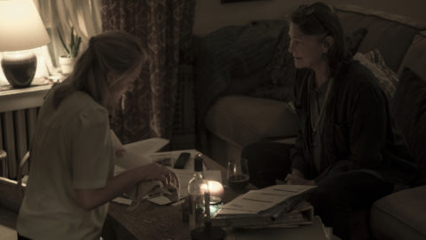 """THE HANDMAID'S TALE -- """"Baggage"""" -- Episode 203 -- Offred reflects on her relationship with her mother as she navigates her way through Gilead. In Little America, Moira tries to cope with the trauma she endured. Offred (Elisabeth Moss) and Holly (Cherry Jones), shown. (Photo by:George Kraychyk/Hulu)"""