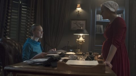 """The Handmaid's Tale -- """"Women's Work"""" - Episode 208 -  A sick baby tests Offred and Serena. Janine finally faces Naomi. The Commander struggles to recover from a terrifying ordeal. Serena Joy (Yvonne Strahovski) and Offred (Elisabeth Moss), shown. (Photo by: George Kraychyk/Hulu)"""