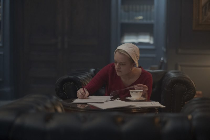 """The Handmaid's Tale -- """"Women's Work"""" - Episode 208 - A sick baby tests Offred and Serena. Janine finally faces Naomi. The Commander struggles to recover from a terrifying ordeal. Offred (Elisabeth Moss), shown. (Photo by: George Kraychyk/Hulu)"""
