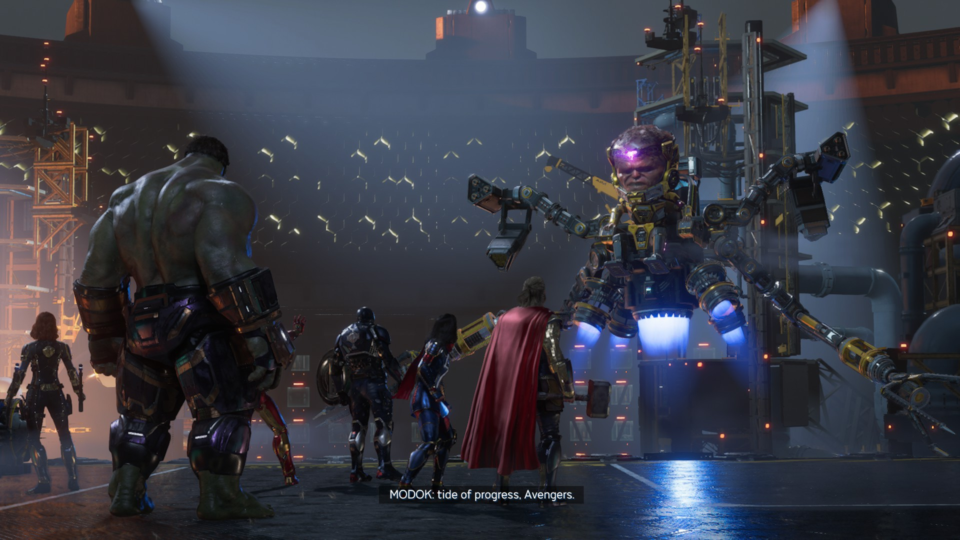 Avengers képernyőmentés, amint MODOK szerepel