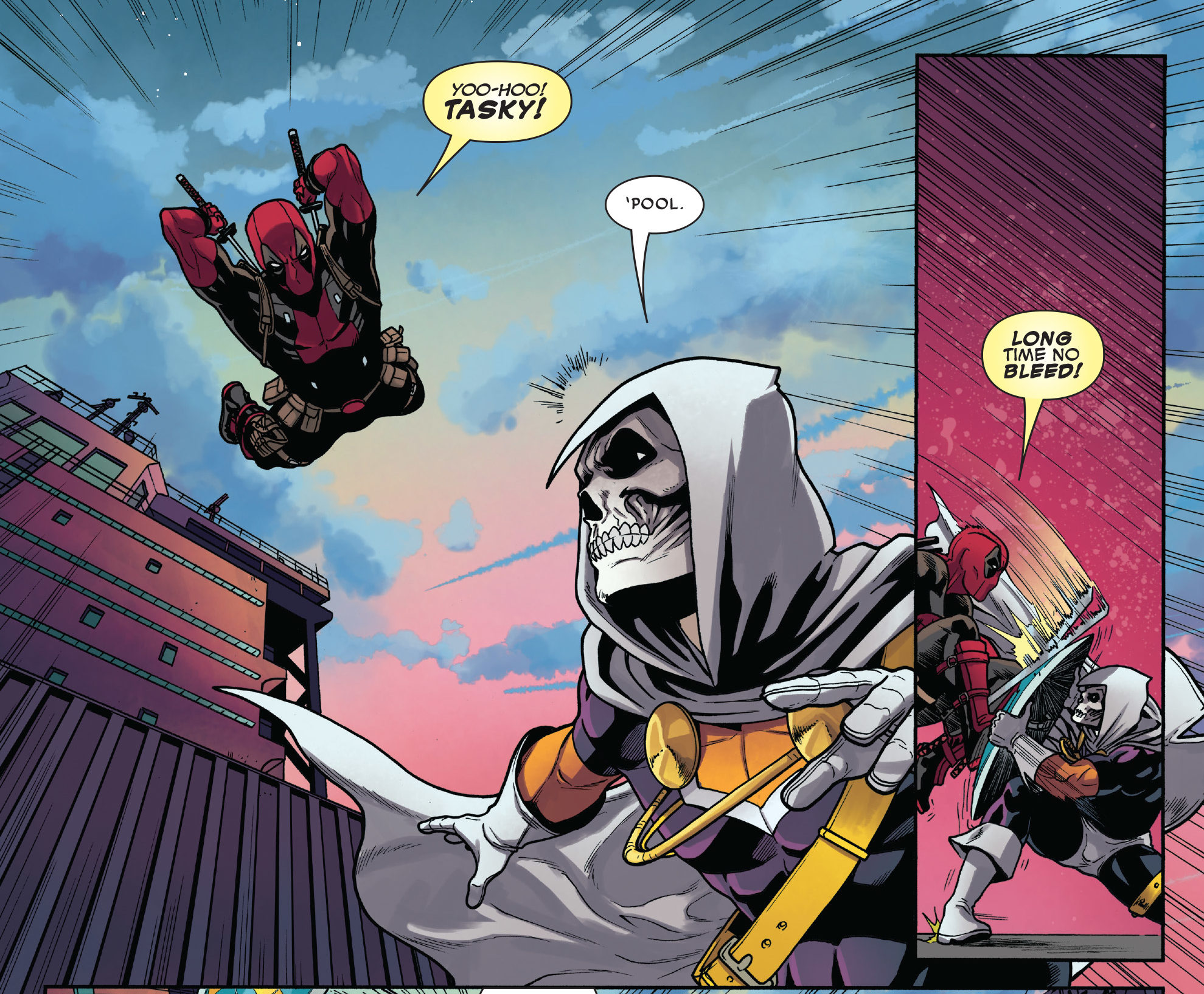 Képregényoldal rajta Deadpoollal, akik megtámadja a Kiképzőt