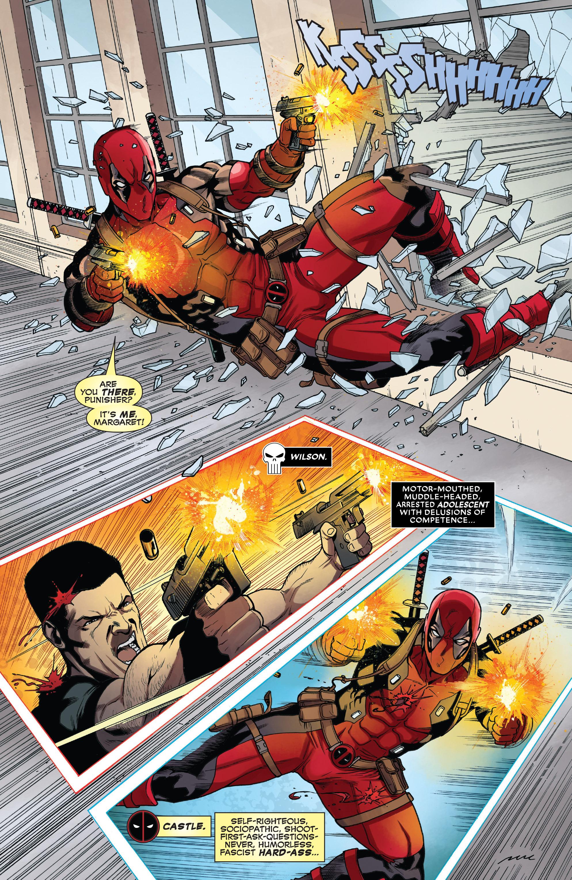 Oldal a Deadpool a megtorló ellen képregényből, amin deadpool rátámad megtorlóra