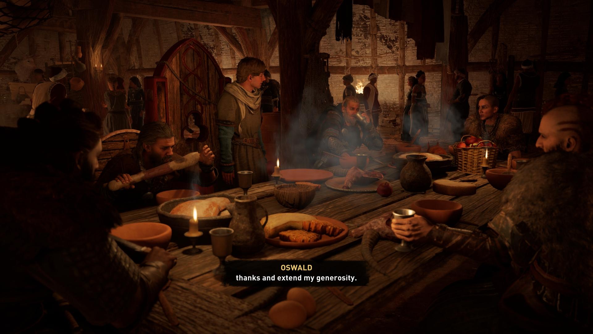 Ac Valhalla Eivor vacsora asztalnál