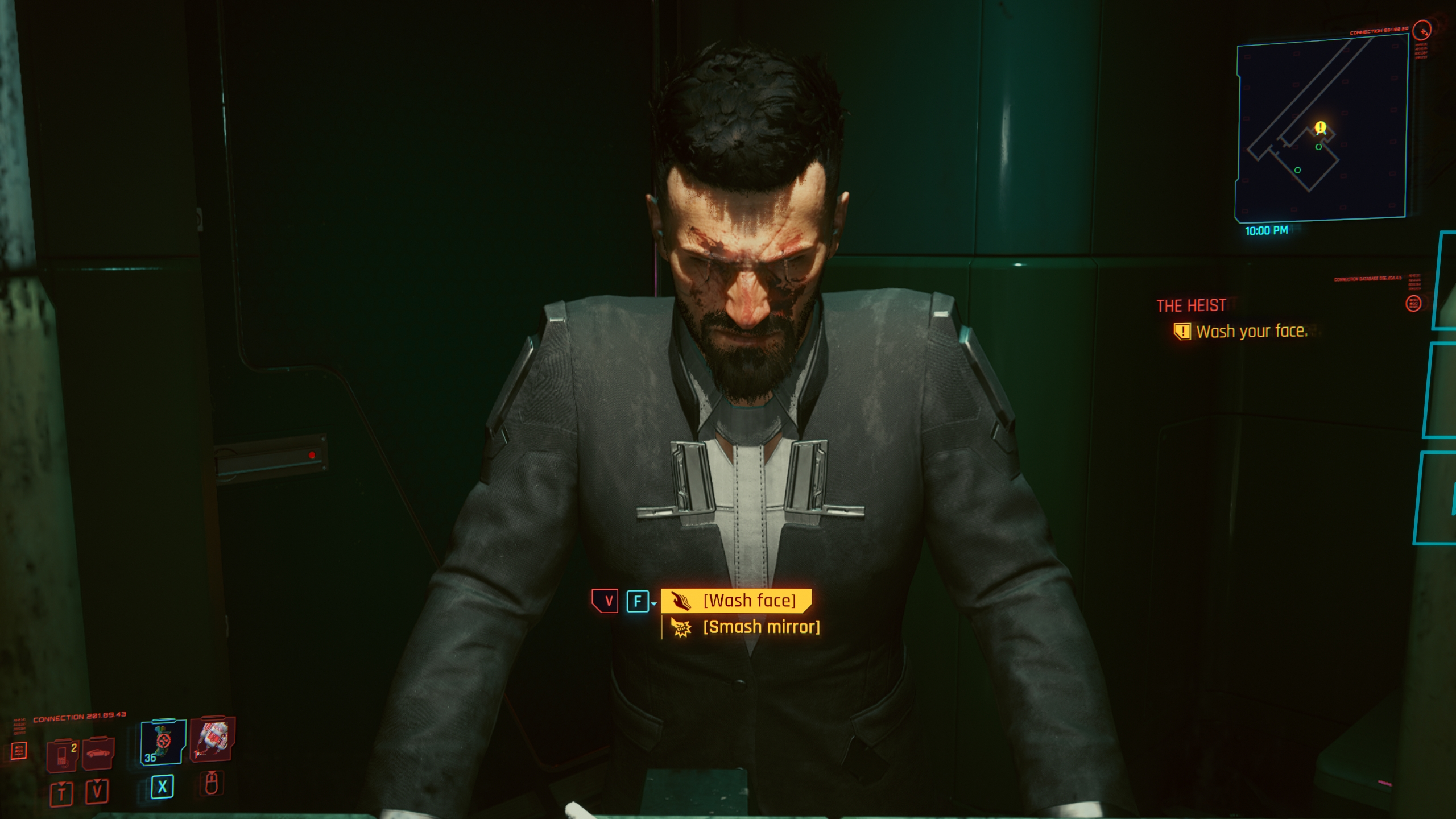 Cyberpunk 2077 V a tükörben