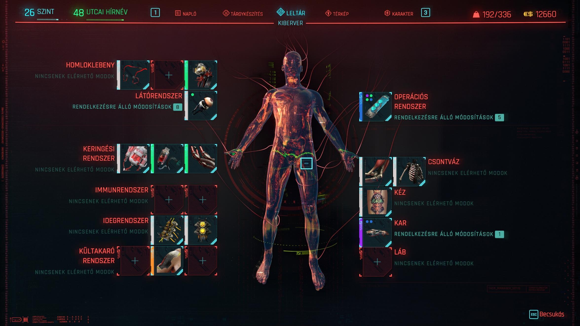 Cyberpunk 2077 Cyberware felszerelés