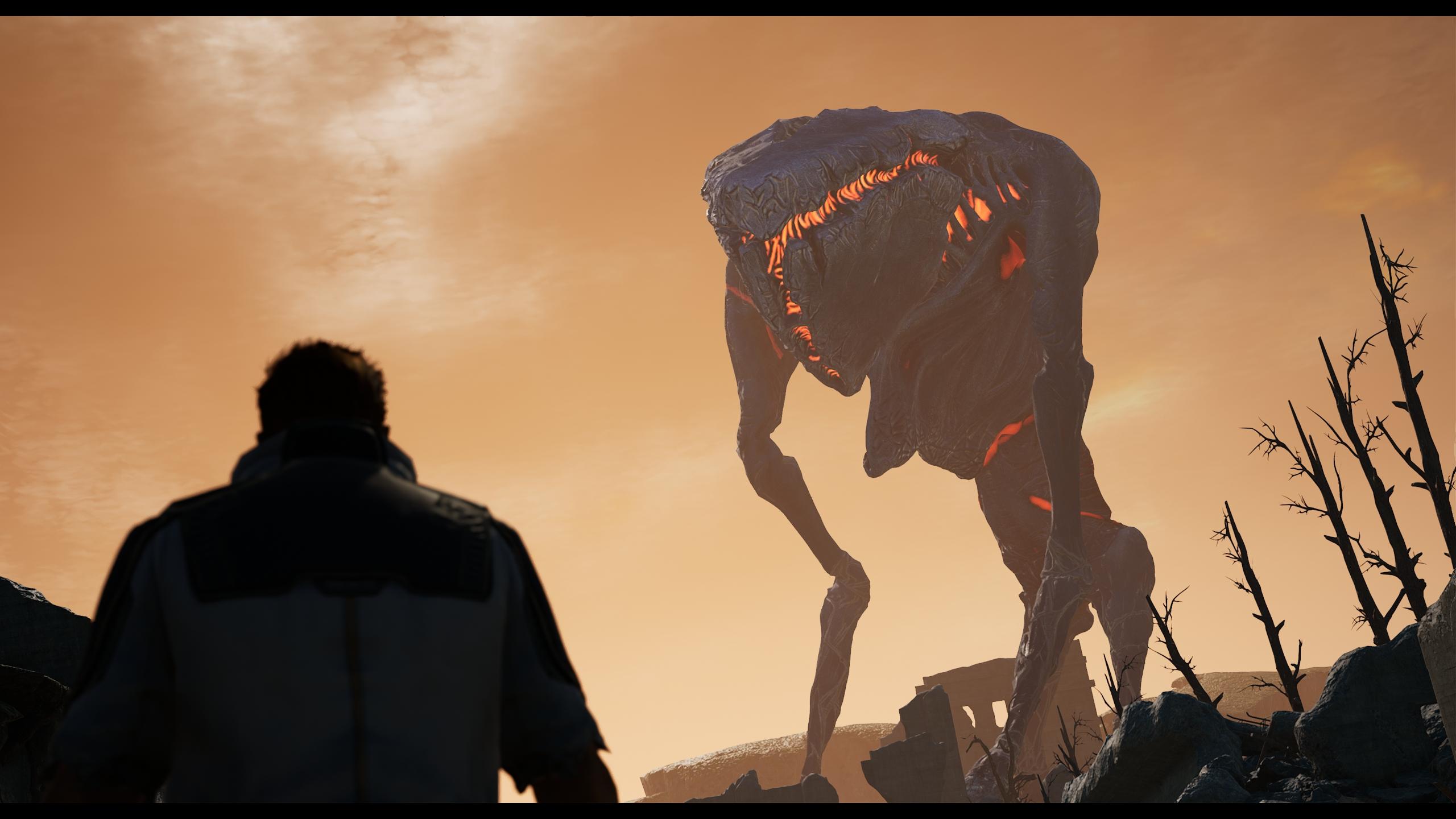 Az Outrider és egy hatalmas lény
