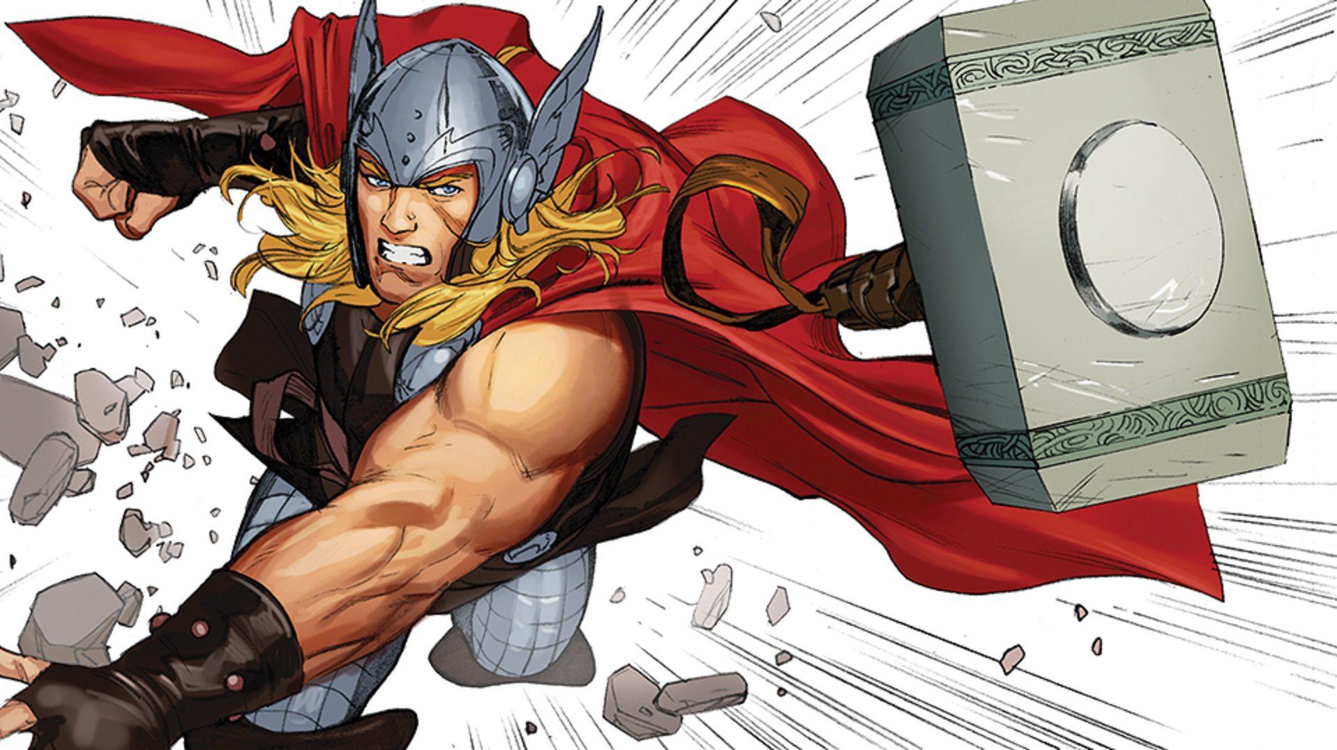 Thor dobja a kalapácsát a Mennydörgés istene második kötetében