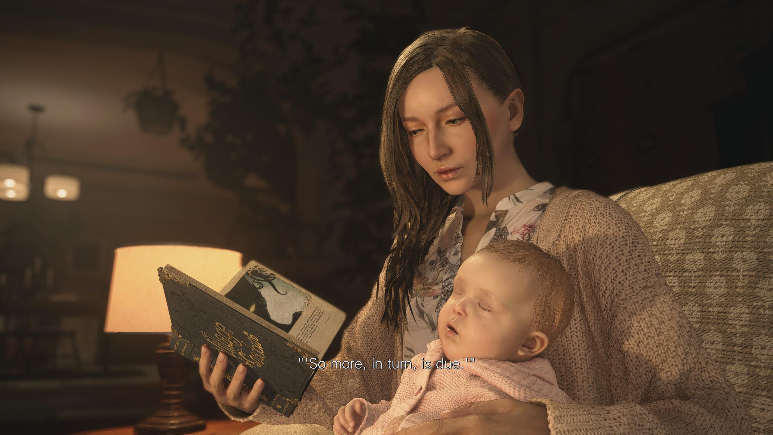 Mia mesét olvas Rose-nak a resident Evil village-ben
