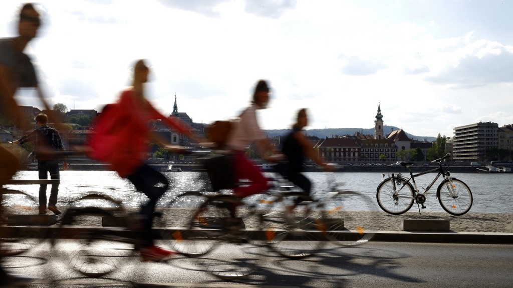 BUDAPEST, HUNGARY - APRIL 25: Thousands of cyclists rides their bikes during the 'I Bike Budapest' event organized to promote cycling as an environmentally friendly mode of transport in Budapest, Hungary on April 25, 2015. Arpad Kurucz / Anadolu Agency